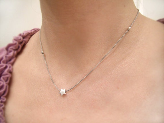 Silver Star - Minimalist Jewelry - Tiny Silver Star Necklace - Memory Necklace - Dainty Silver Necklace - Bracelet w/Clasp #5-001