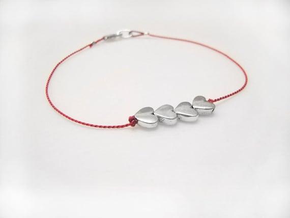 Valentine, Silver Heart Bracelet, Wish Bracelet, Friendship Bracelet, Minimalist Jewelry, Delicate Bracelets, Four Silver Hearts with Clasp