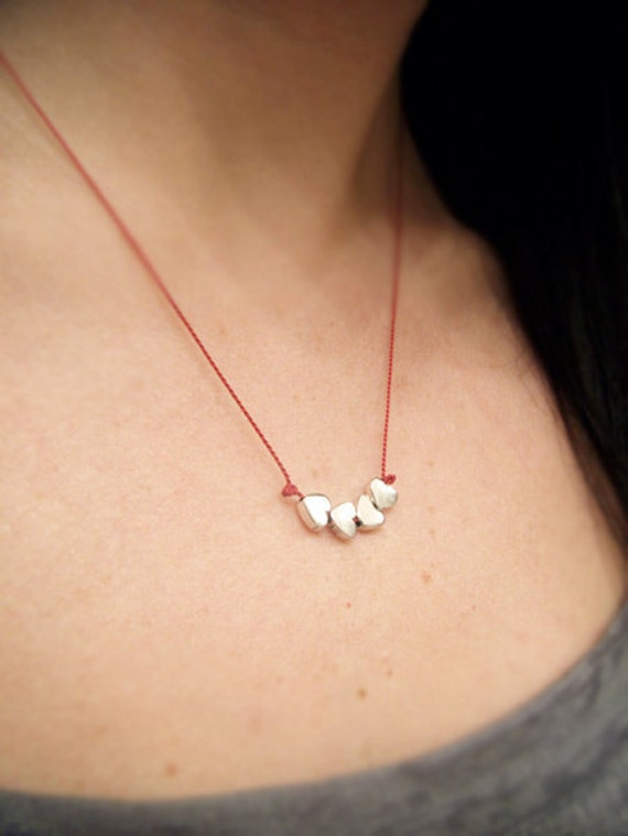 Friendship Necklace - Memory Necklace - Four Tiny Sterling Silver Hearts - Red