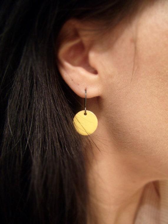 Enamel Earrings - Yellow Copper Enamel Earrings - Round Yellow Earrings - Little Yellow Polka Dot Earrings - Polka Dot Earrings - SALE