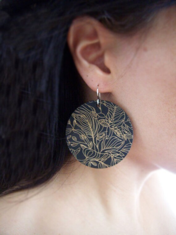 Black Wooden Disc Earrings - Safari - Etched Wooden Earrings with Sterling Silver Earwires - Hostess Gift