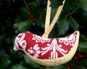Bird Christmas Ornament in Red and Yellow
