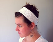 Girl's white eyelet lace headband - repurposed fabric, vintage-inspired