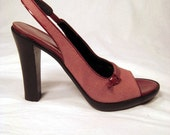 vintage high heel sling back in maroon fabric, patent leather  by Via Spiga Italy.  deadstock unworn, size 7 1/2 n