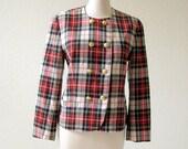 vintage 80's Pendleton virgin wool plaid jacket.  size petite 8