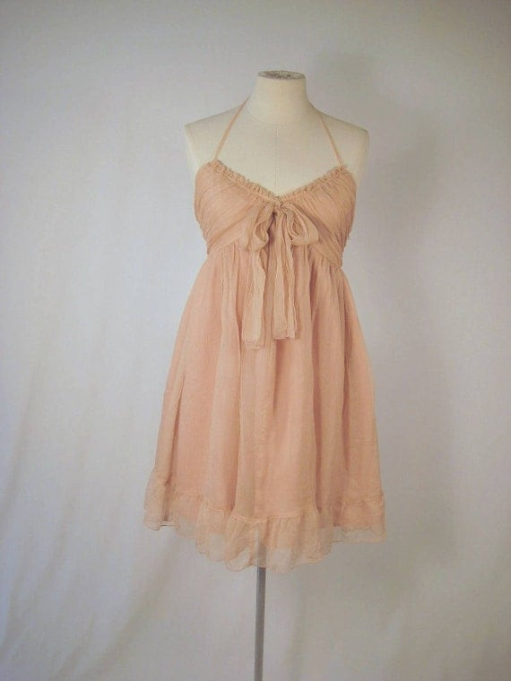 Vintage Halter Blush Chiffon Babydoll Mini Dress