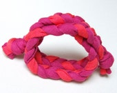 Fabric bracelet in PINK and RED braided bracelet upcycled jersey t-shirt bracelet 20% OFF