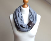 Infinity scarf lightweight Circle Scarf Shawl with Leather Pin / Clasp