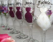 Hand Painted Personalized Bridesmaid Dress Wine Glasses - GIFT WRAPPING AVAILABLE