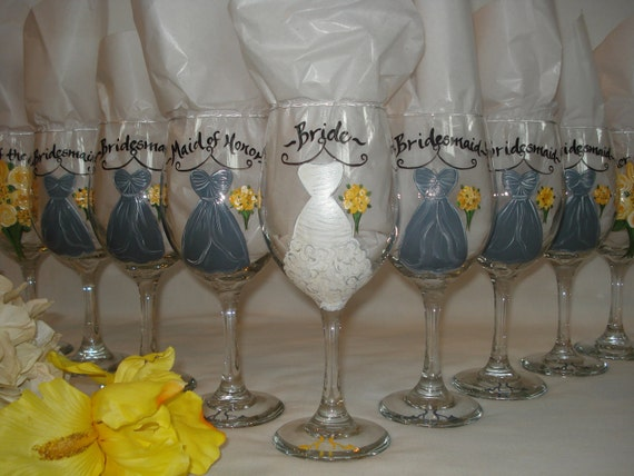 Personalized Hand Painted Bridesmaid Dress Wine Glasses - GIFT WRAPPING AVAILABLE