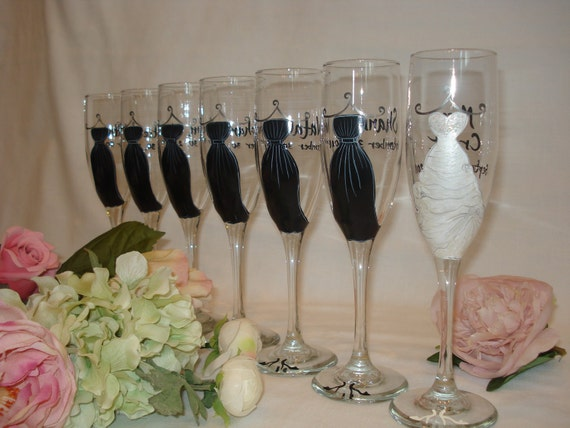 Gifts For Bride On Wedding Day From Bridesmaid: Personalized Hand Painted Bridesmaid Dress Wine Glasses GIFT