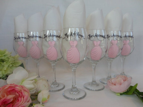 Hand Painted Personalized Bridal Party Dress Wine Glass Set - Set of 7 - GIFT WRAPPING AVAILABLE