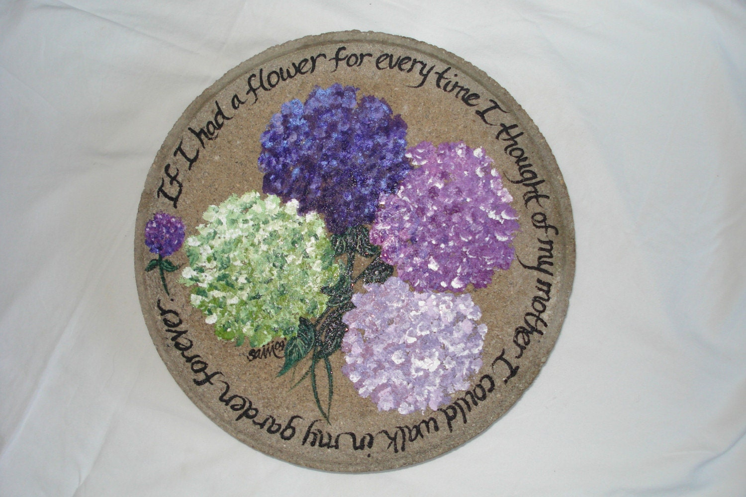 Hand Painted Personalized Hydrangea Stepping Stone By