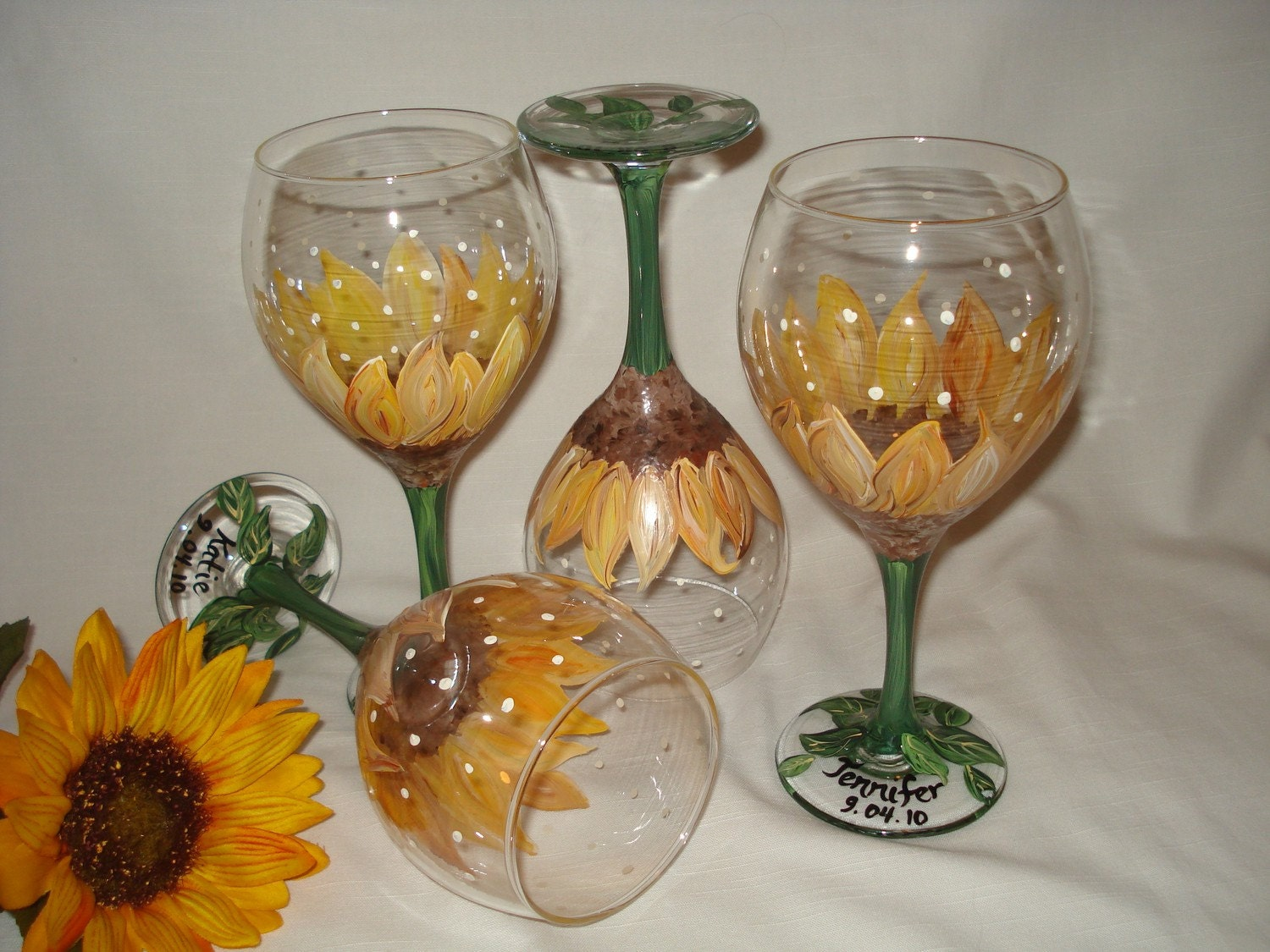 Hand painted sunflower wine glass personalized for Hand painted glassware