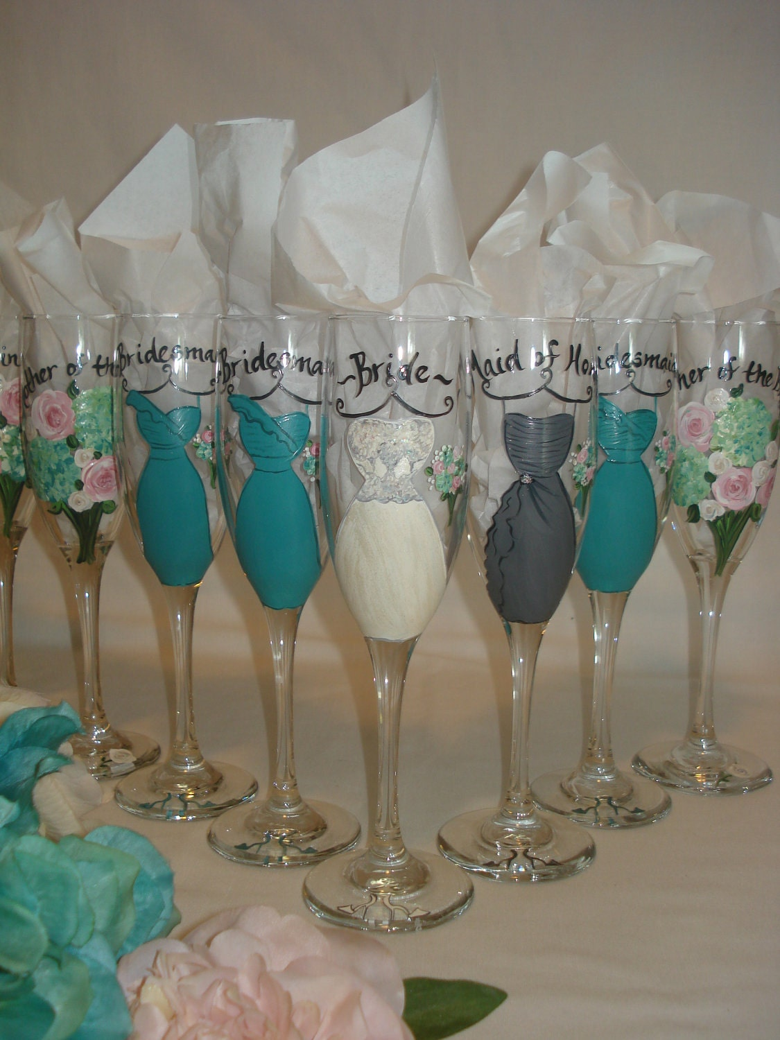 Unique Wedding Gift Ideas For Bridesmaids : Hand Painted Personalized Bridal Party Champagne Glasses