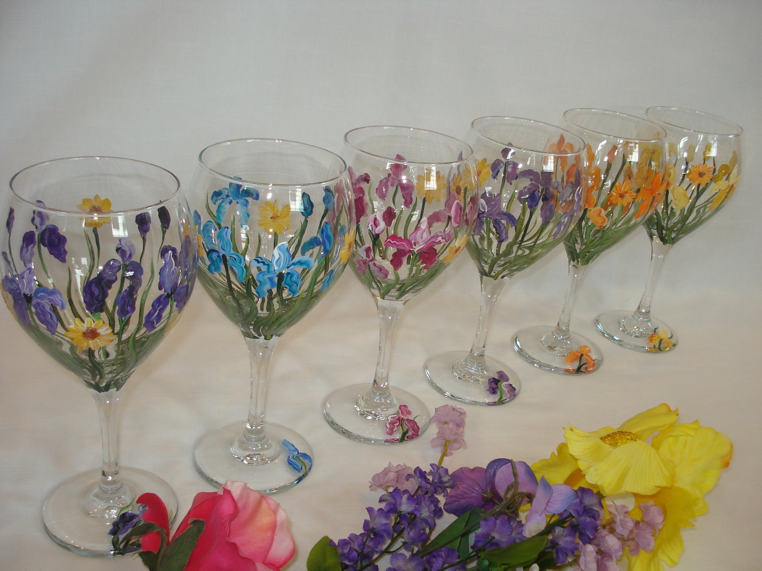 hand painted iris flower wine glasses great for by