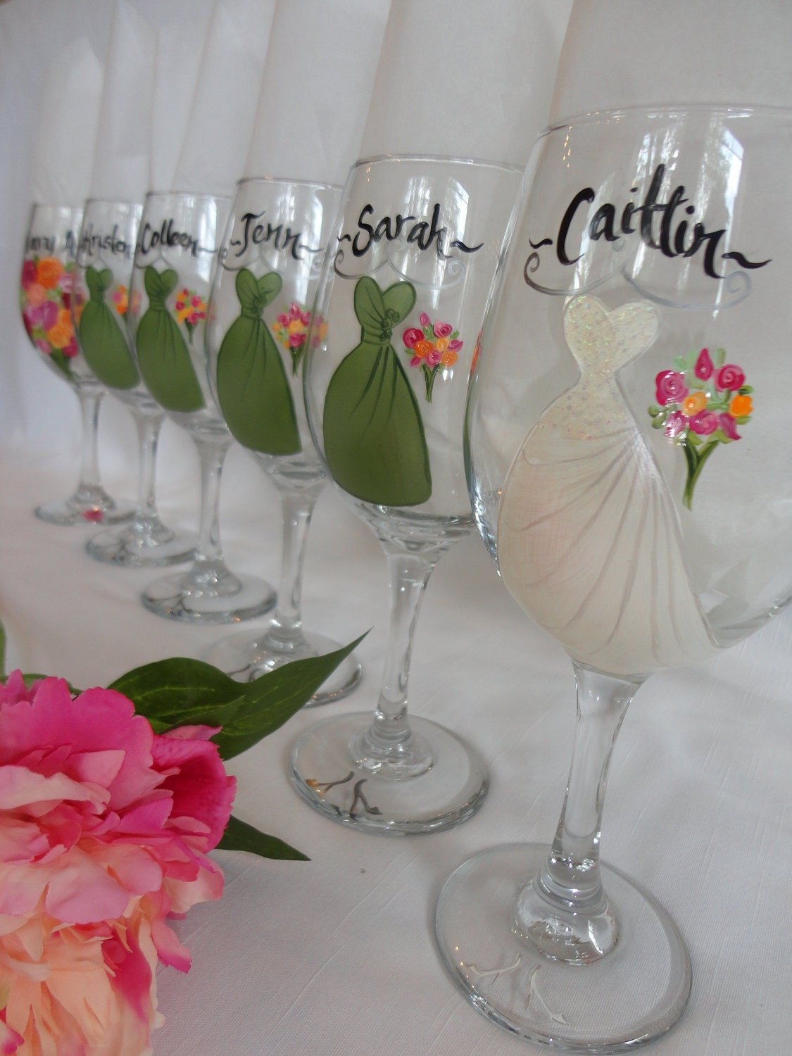 Personalized hand painted bridesmaid dress wine glasses gift for Hand painted wine glasses