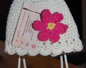 Baby Girl 100percent cotton Crochet Hat, White with Pink Flower