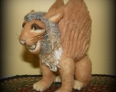 Winged Lion Needle Felted Wool Sculpture Fantasy Creature