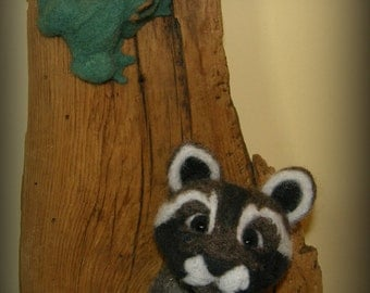 Racoon and Tree Frog Needle Felted Wool Sculpture Barn Wood