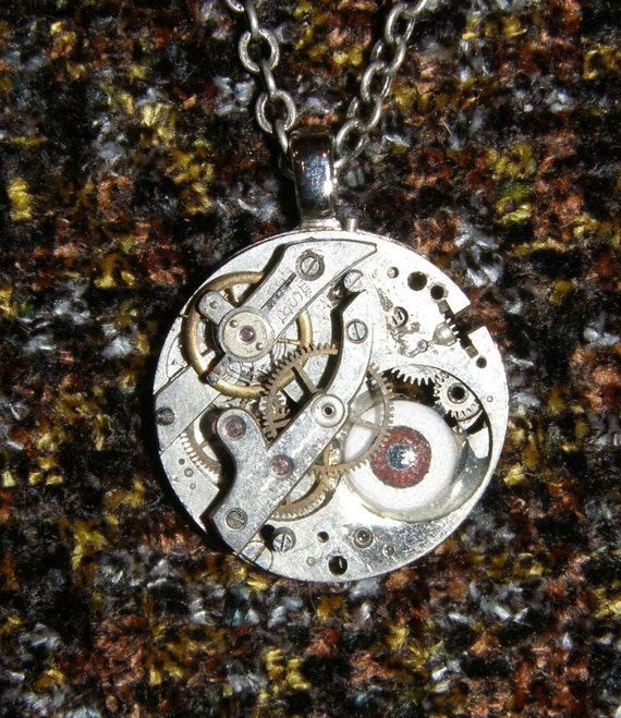 Steampunk Seeing Eye Pendant Antique Watch Movement