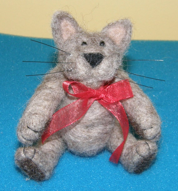 Cat with Whiskers in Needle Felted Wool Teddy Bear Style