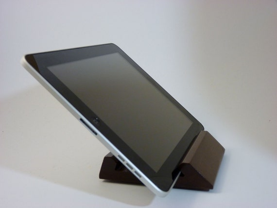 Walnut Wooden iPad Stand,  Gift for IT, Tablet Holder 2 Viewing Angles, Dock