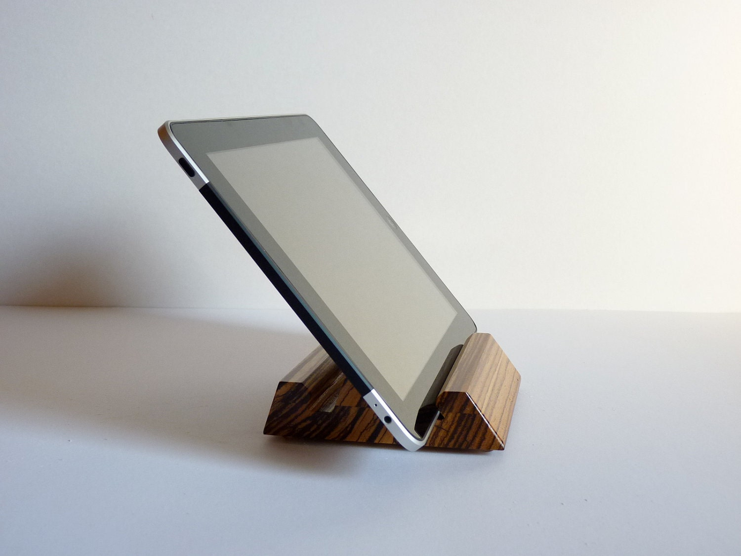 Zebrawood IPad Stand Compact Wooden Tablet Holder By HardwoodShop. Full resolution‎  portrait, nominally Width 1500 Height 1125 pixels, portrait with #271913.