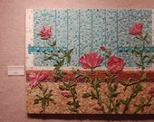 SALE Mixed Media Mosaic, OOAK ... Substantial Piece ...The French Window Mosaic Art  with Pink Roses FRAMED