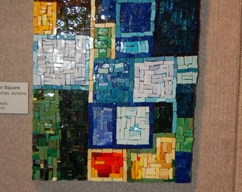 Mixed Media Mosaic, OOAK Mondrian Square mosaic art piece