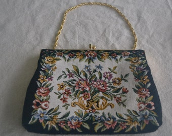Vintage Small Handbag with Chain, Pretty Petit Point Purse, Floral Tapestry
