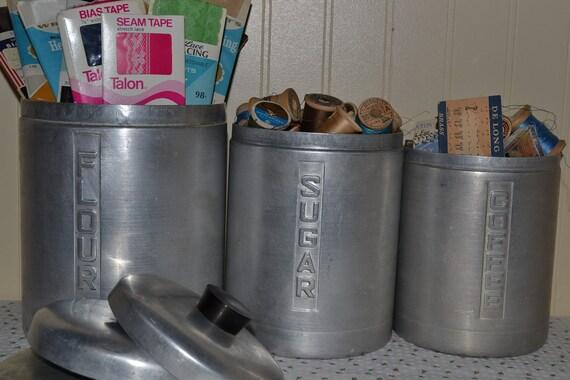 Vintage Shabby Metasco Aluminum Canister Set, Vintage Kitchen Storage