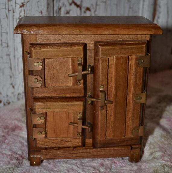 Vintage Miniature Wooden Wardrobe or Icebox, Dollhouse Kitchen