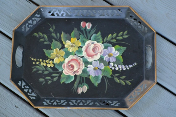Vintage Pretty Rectangular Tole Tray With Handpainted Flowers, Shabby Chic Decor