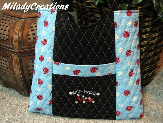 Worlds Greatest Mom Ladybug Tote x