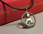 Sterling Silver Breastfeeding Advocacy Pendant on Adjustable Leather Cord
