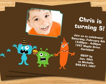 Cute Monster Birthday Party Invitation
