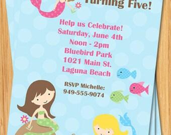 Mermaid Birthday Party Invitation - Under the Sea - Customizable