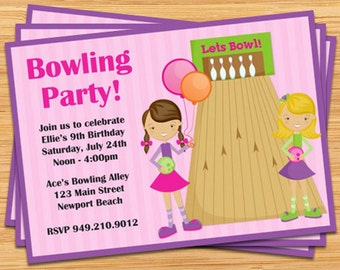 Bowling Party Invitation for Girls