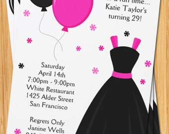Pink and Black Dress Grown Up Party Invitation