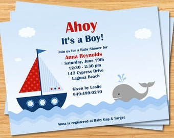 Nautical Baby Shower Invitation - Ahoy It's a Boy - Boat and Whale