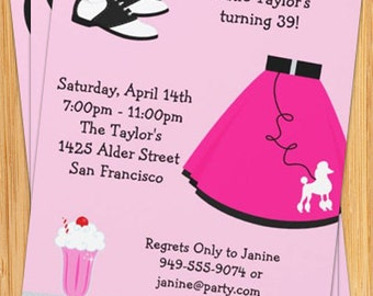 50's Poodle Skirt Party Invitation