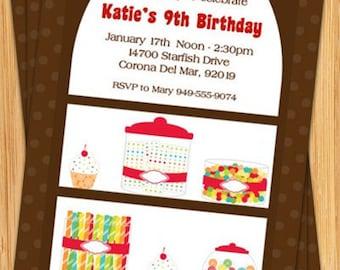 Candy Birthday Party Invitation