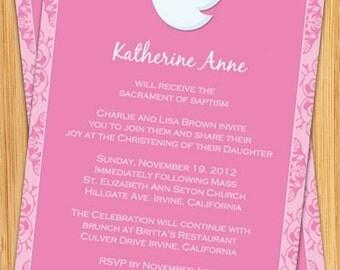 Pink Dove Girl's Baptism Invitation