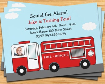Red Firetruck Birthday Party Invitation - Customize with Your Childs Photo