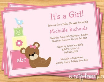 Pink Teddy Bear Baby Shower Invitation - Print Yourself