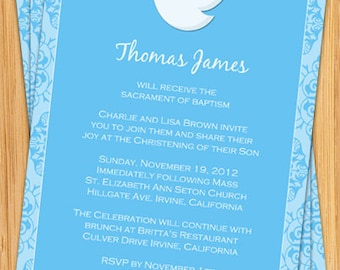 Dove Baptism Invitation for a Boy - Print Yourself