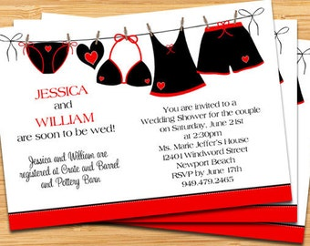 Couple Bridal Shower Invitation - Black Underwear and Hearts