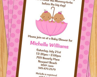 African American Twin Girls Baby Shower Invitation