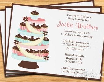 Baby Shower Invitation Cupcake Tower